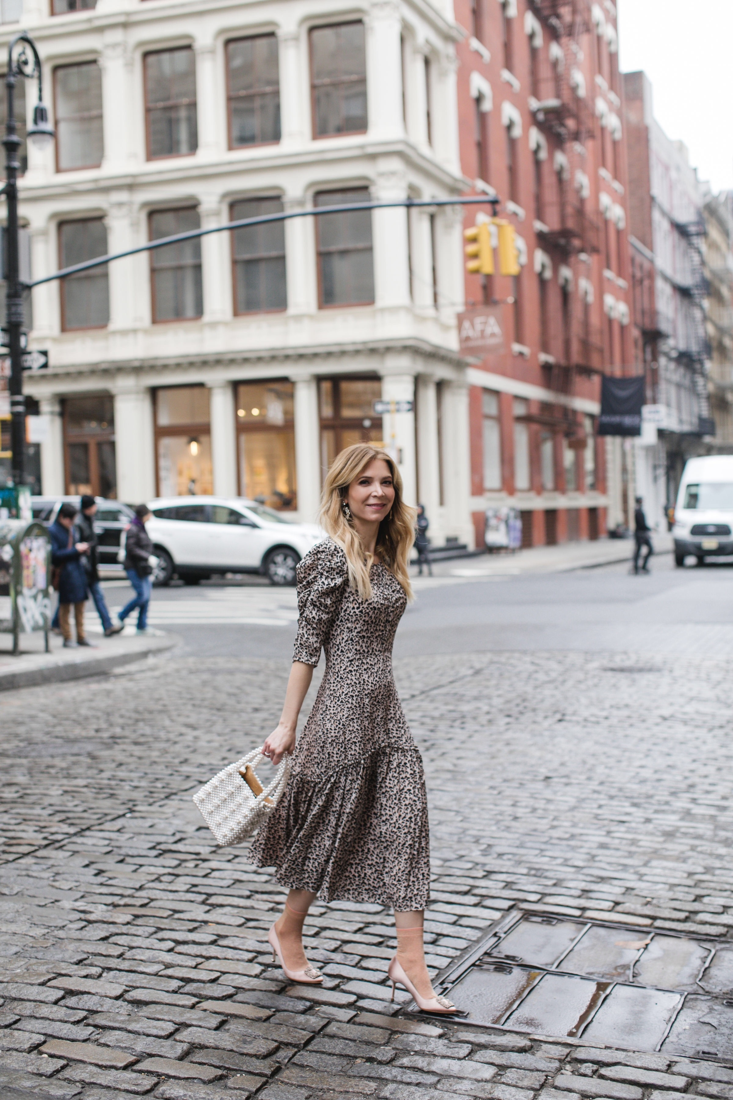 Rebecca Taylor dress, Rebecca Taylor, Shrimps bag, www.abouttheoutfits.com, NYC fashion, NYC street style, Laura Bonner
