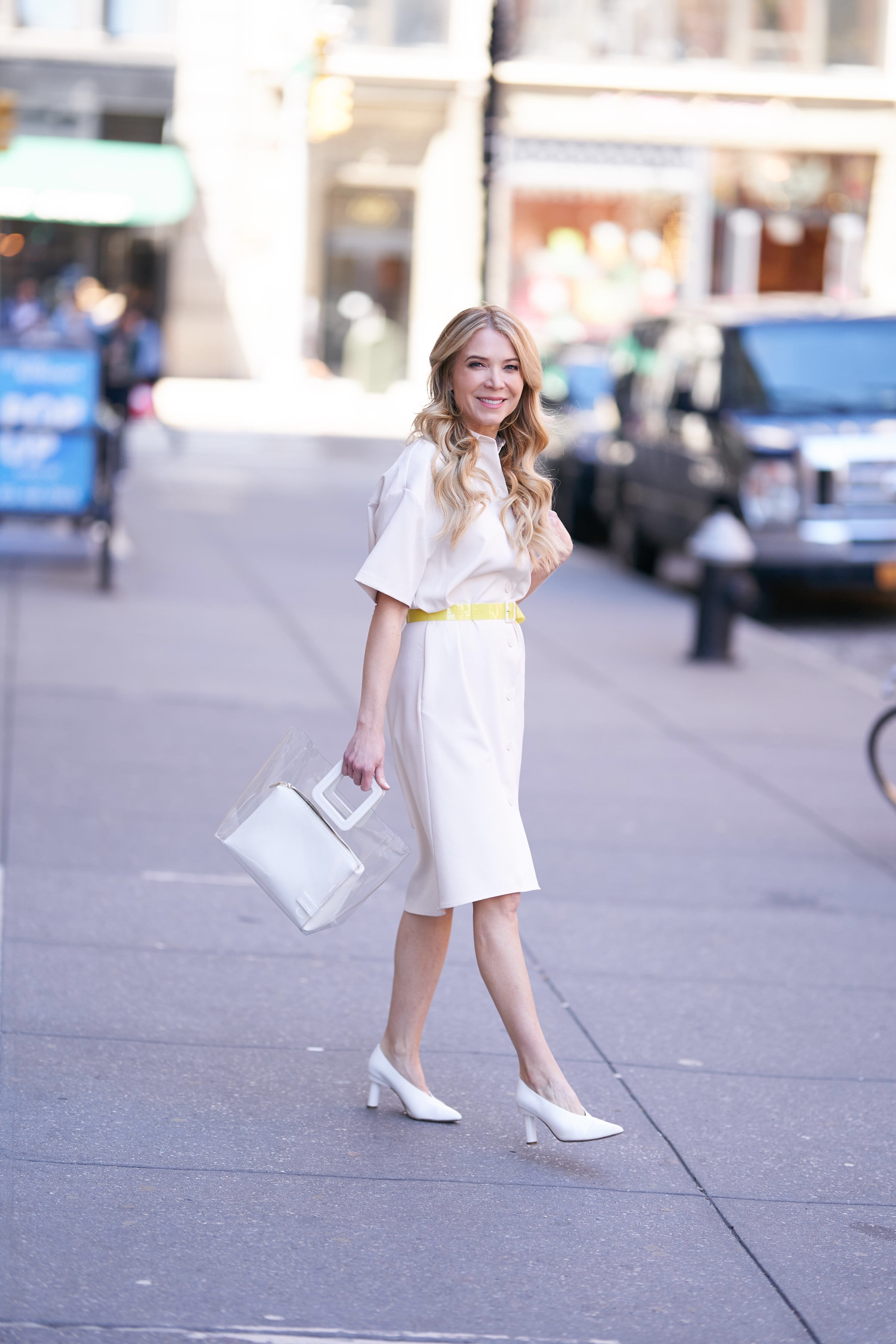 About the Outfits, Laura Bonner, neon trend, Target style, neutrals, white shoes, staud shirley bag
