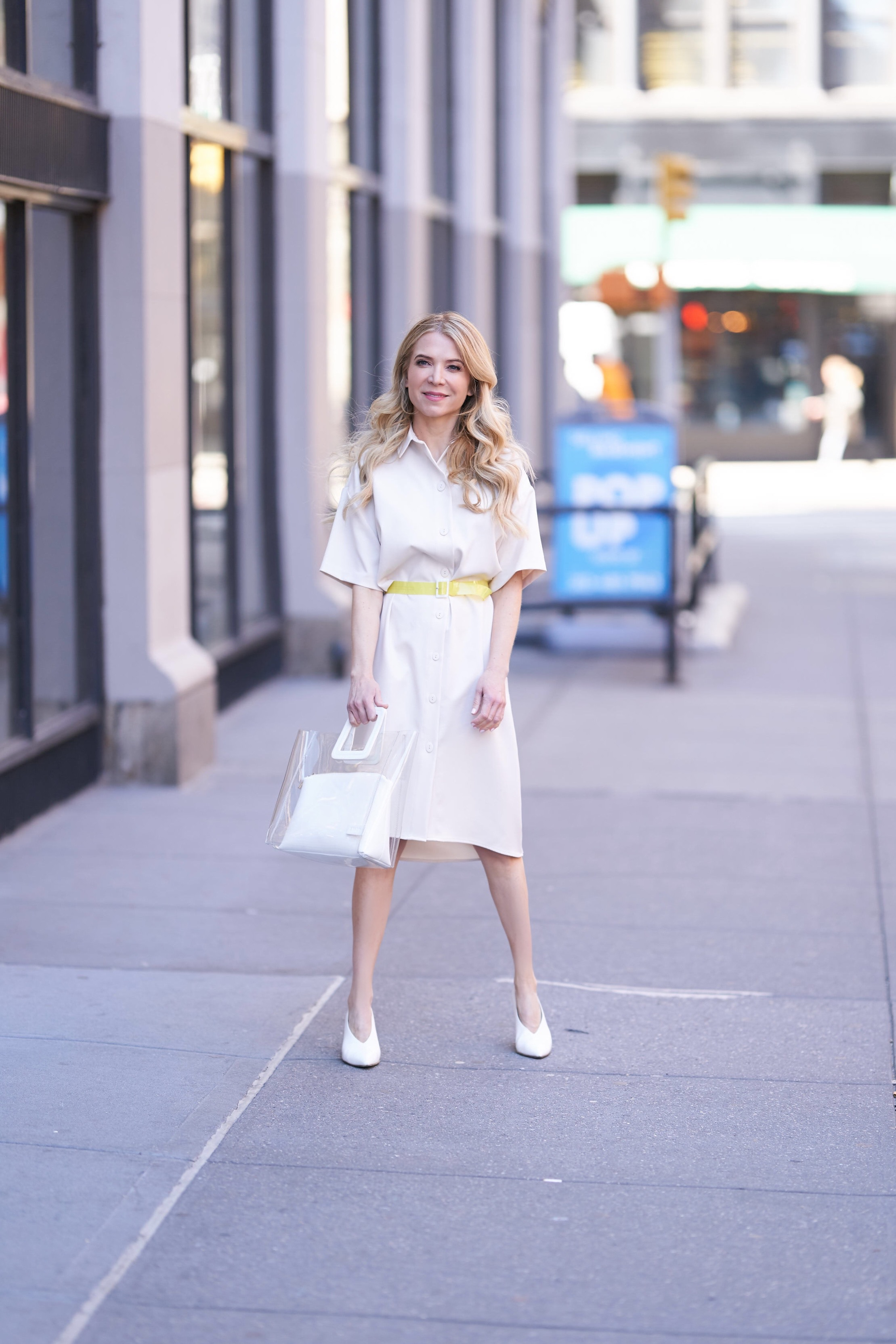 About the Outfits, www.abouttheoutfits.com, neutral dress for spring, neon trend, white shoes, Target style