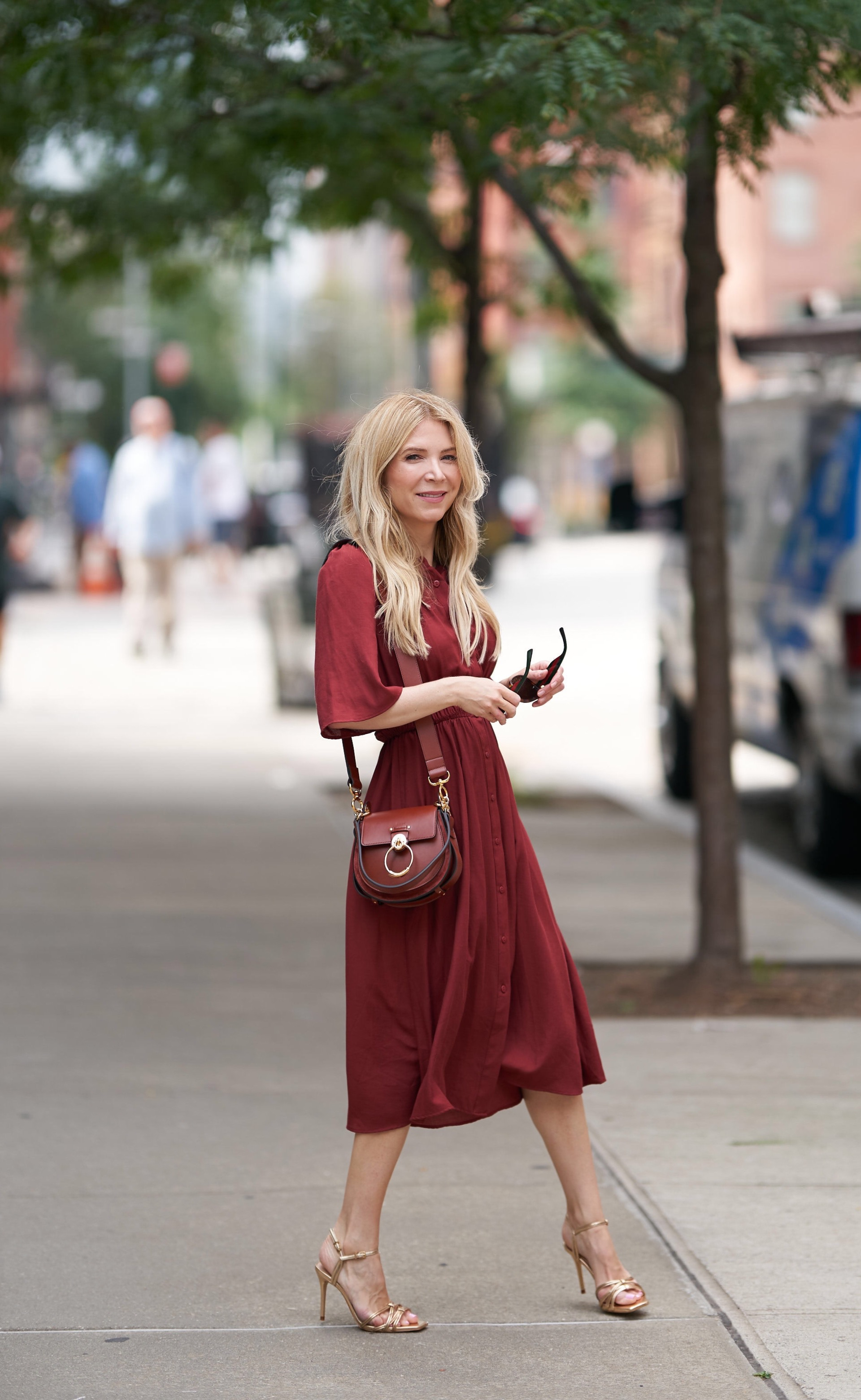 Burgundy shirt dress, Zara shirt dress, Chloe tess bag, Laura Bonner, About the Outfits, NYC Fashion Blogger