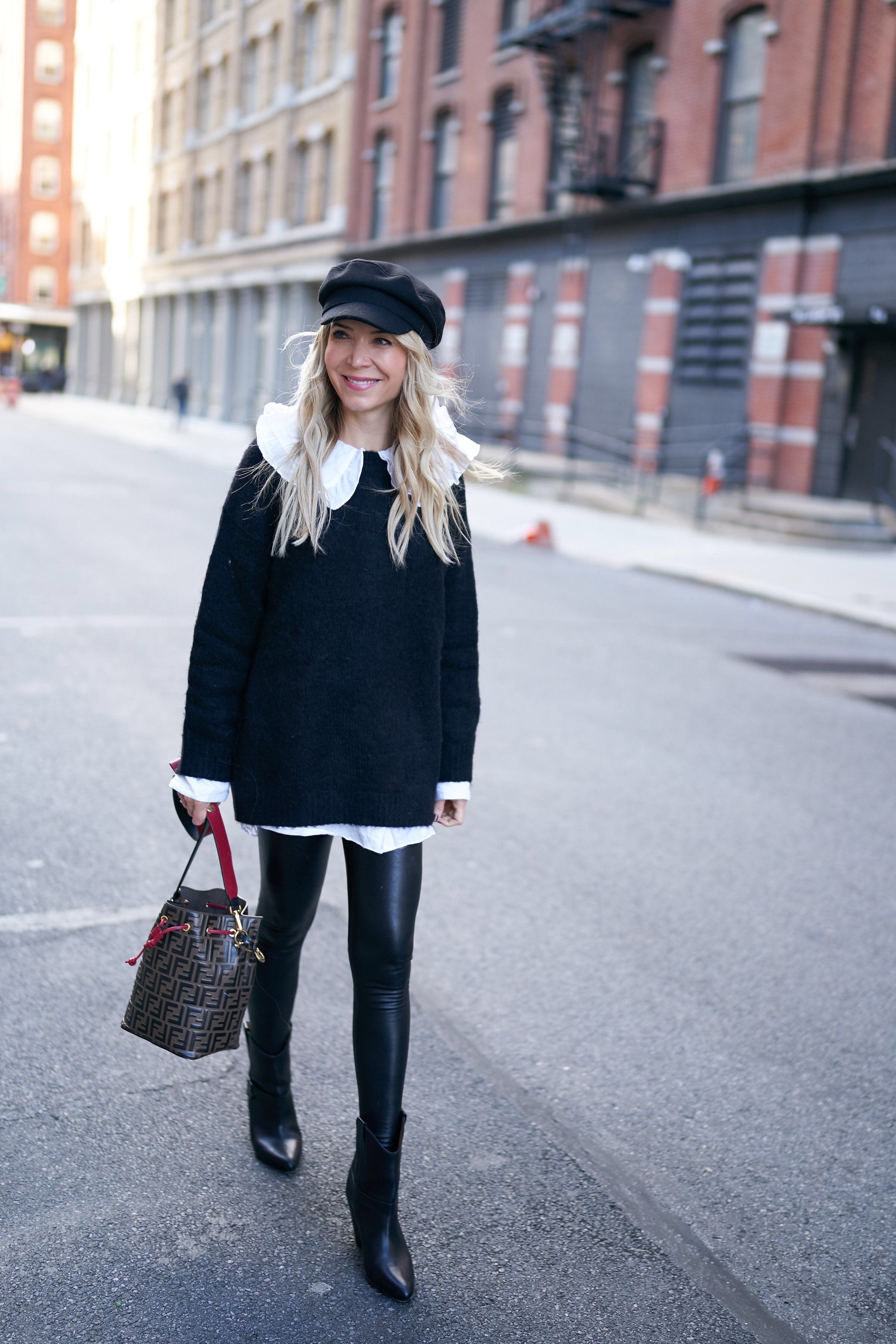 About the Outfits, Peter Pan Collar, Oversized Peter Pan Collar, Faux Leather Leggings, Newsboy Cap, www.abouttheoutfits.com, Fendi Mon Tresor, Laura Bonner, NYC fashion blogger