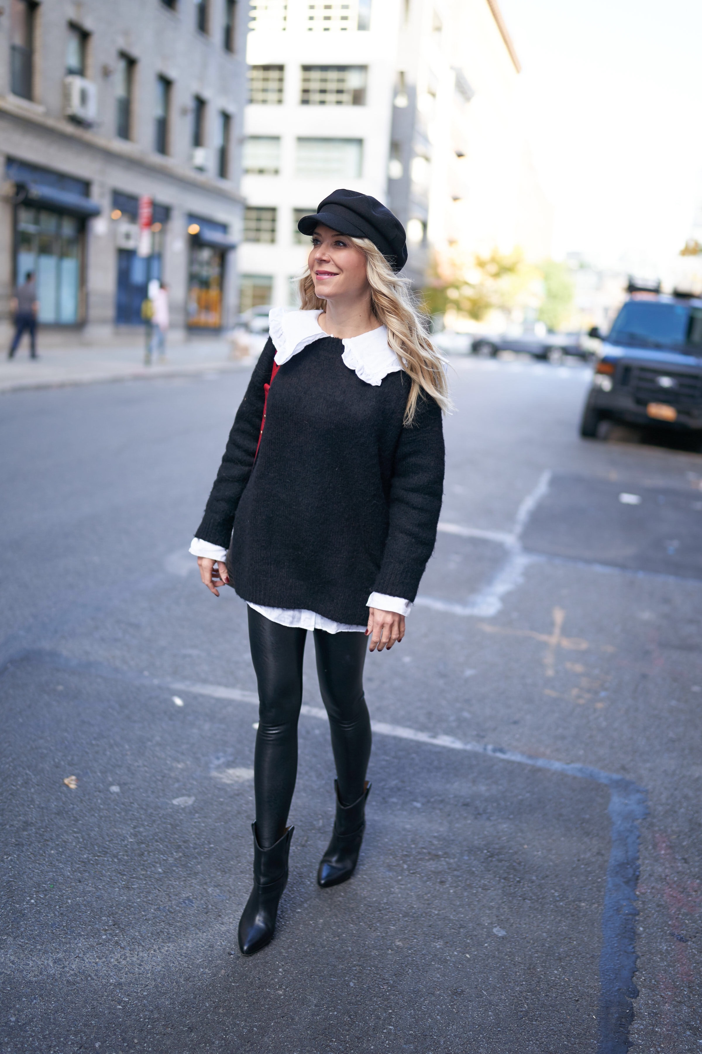 About the Outfits, Peter Pan Collar, Oversized Peter Pan Collar, Faux Leather Leggings, Newsboy Cap, www.abouttheoutfits.com, Laura Bonner