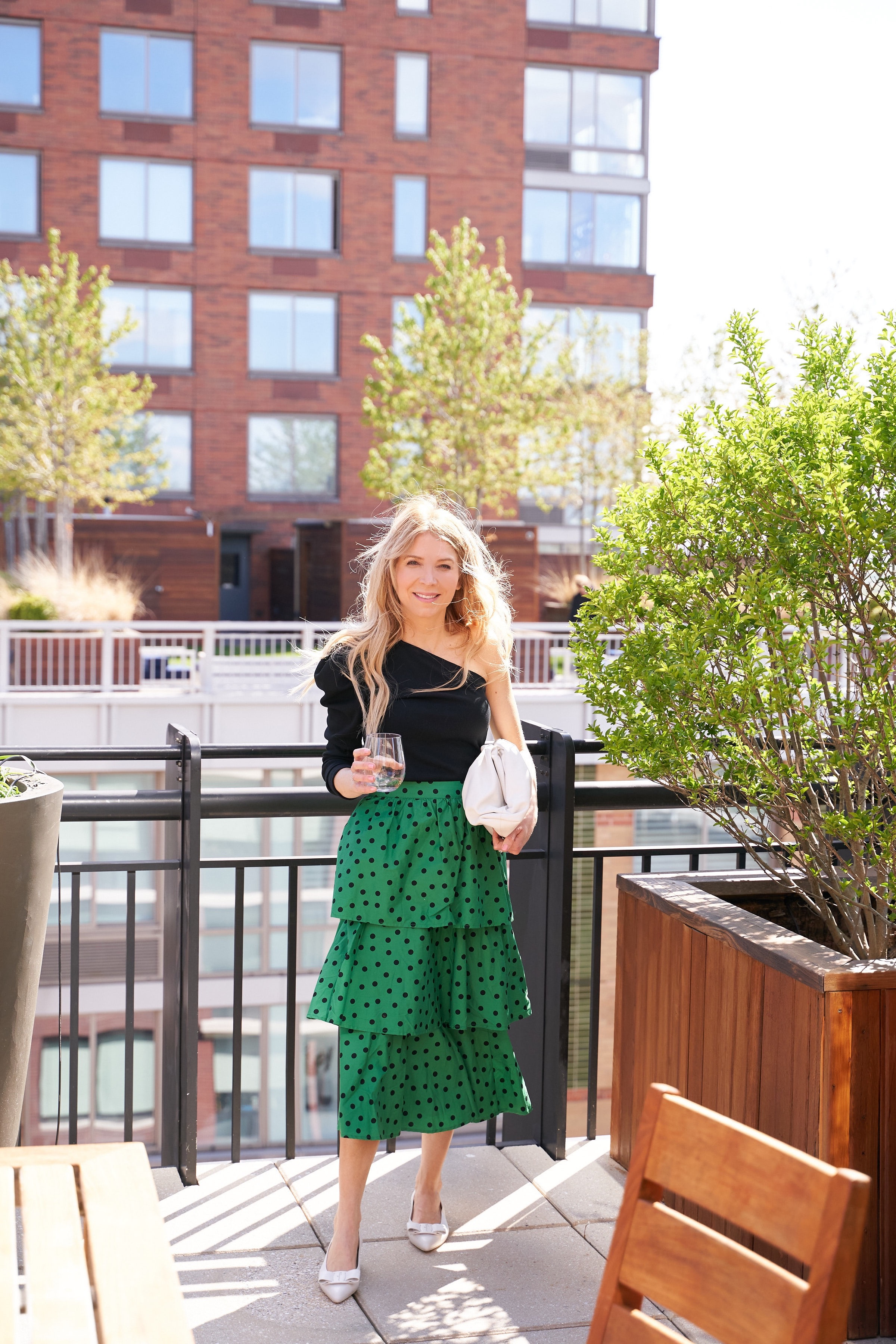 About the Outfits, Laura Bonner, Targetstyle, Target fashion finds, green skirt, Salvatore Ferragamo Viva flats